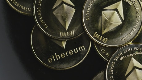 Ethereum golden coins shine and rotate