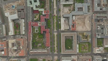 European city seen from the air during quarantine