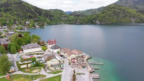 European town by a lake