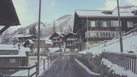 European town during winter