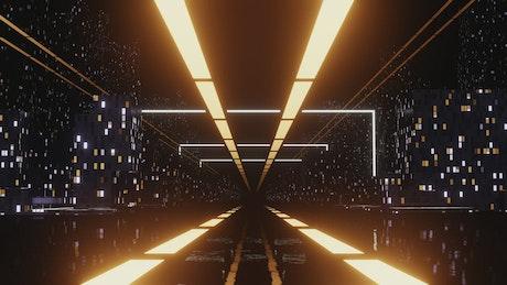 Exploring a bright cyberpunk city