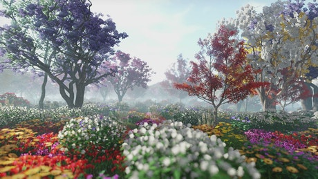 Exploring flowery gardens in spring