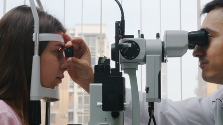 Eye exam with an ophthalmologist and a patient