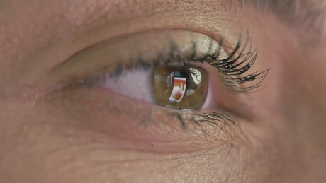 Eye of a woman looking at a tablet