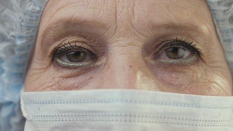 Eyes of a doctor or nurse with a mask