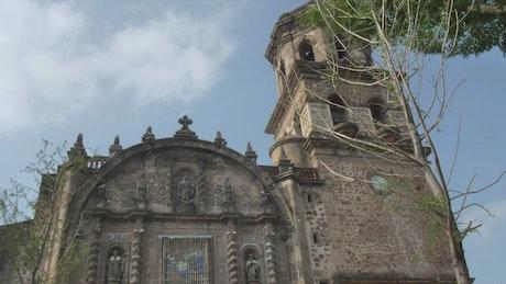 Facade of an old church on a sunny day