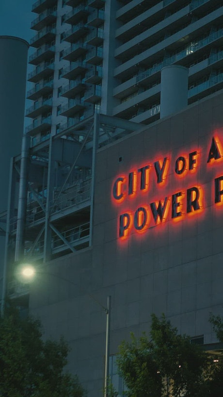 Facade of the Austin Power Plant in a rotating shot