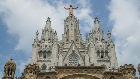 Facade of the Expiatory Temple of Sagrat Cor in Barcelona