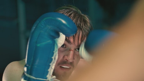 Face of a boxer during a fight