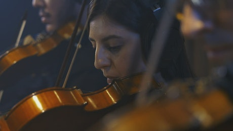 Face of a female violinist playing in a group