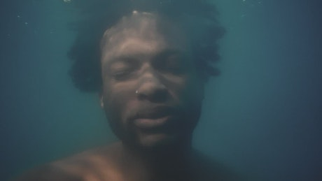 Face of a man submerged under water