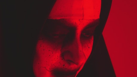 Face of a terrifying ghost nun