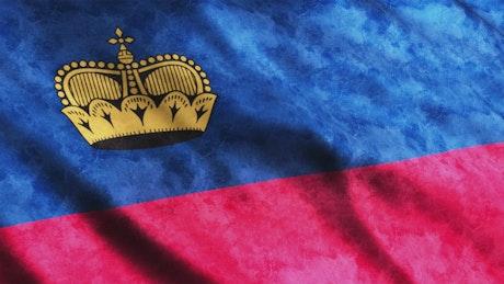 Faded Liechtenstein waving flag, full screen