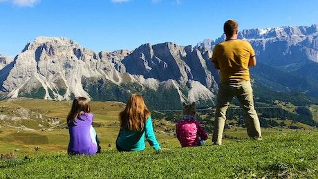 Family enjoying the mountain view