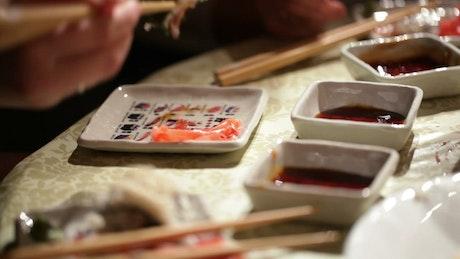 Family having a Sushi dinner