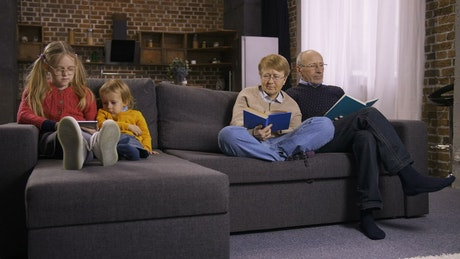 Family quietly spending time together