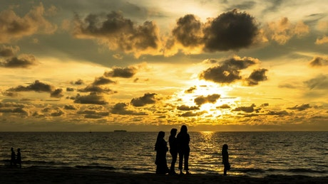 Family silhouetted at the beach
