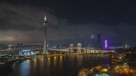 Famous bridge in Macau and TV tower