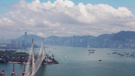 Famous Hong Kong bridge and cityscape