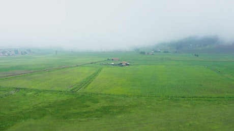 Farm fields in an aerial view on a cloudy day