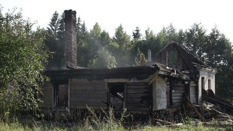 Farmhouse reduced to ashes