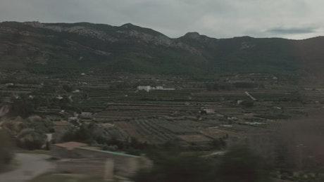 Farming landscape from a train