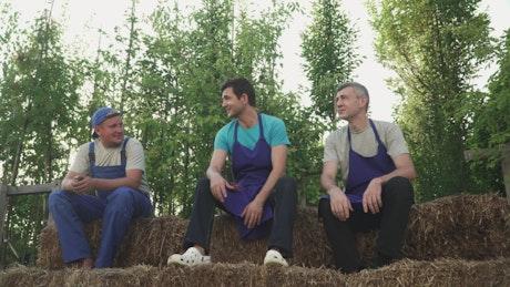 Farming workers taking a break