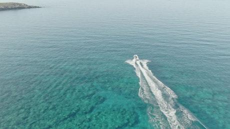 Fast boat sailing through the sea