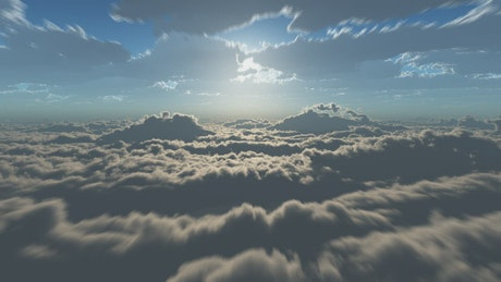 Fast flight above the clouds in the sky
