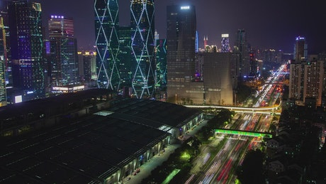 Fast traffic and skyscrapers on a Shenzhen night