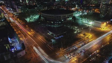 Fast traffic in Beijin in at night