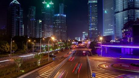 Fast traffic in Shanghai highway at night