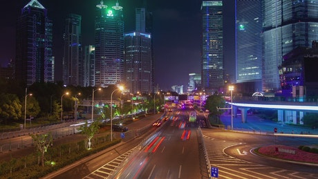 Fast traffic on a Shanghai road at night
