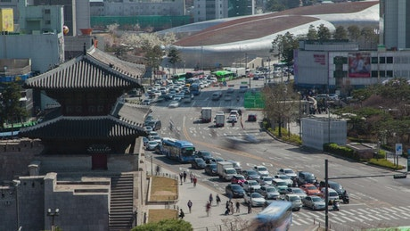Fast traffic on the street in downtown Korea