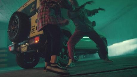 Feet of two girls dancing hip hop