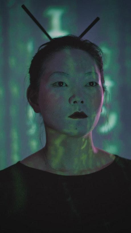 Female cyborg model, portrait