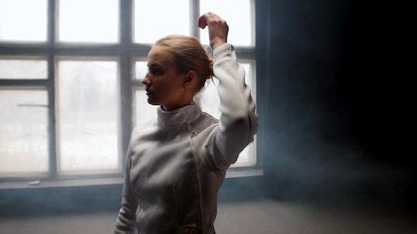 Female fencer after training