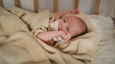 Female newborn baby lying in her crib
