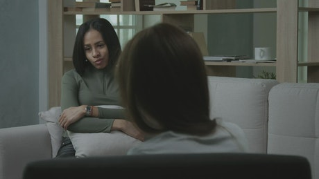 Female patient talking with psychologist