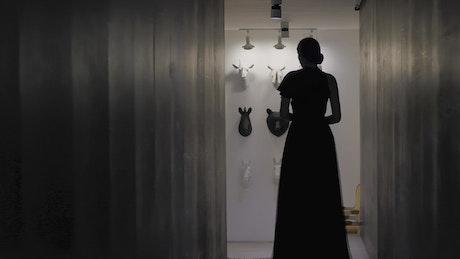 Female silhouette in long dress