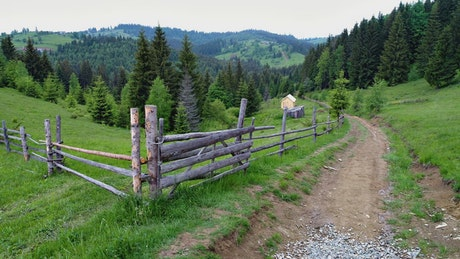 Fence of a ranch in the mountains