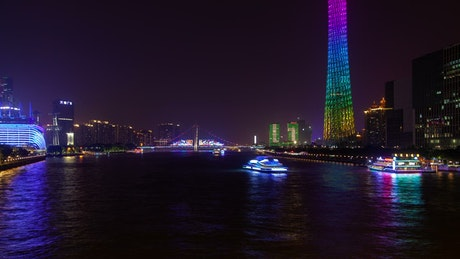 Ferries sailing the Pearl river in Shanghai