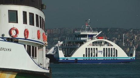 Ferries sailing the sea