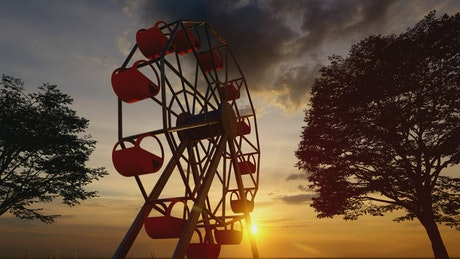 Ferris wheel at sunset, 3D animation