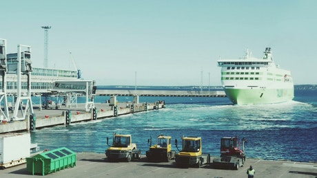 Ferry reversing out of port