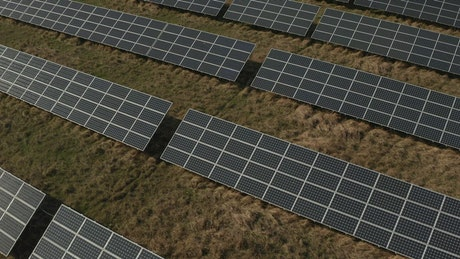 Field covered solar panels from the air