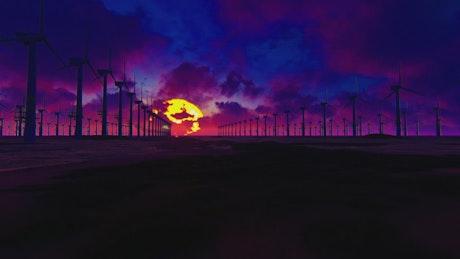 Field of wind turbines on a purple sunset