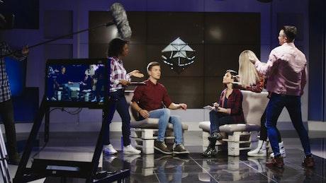 Film crew preparing show for tv