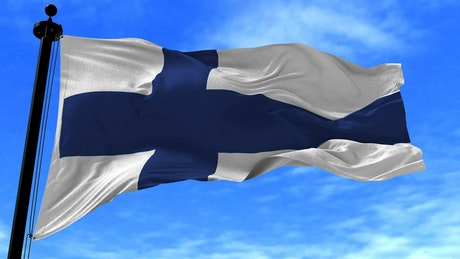 Finland flag waving gently in the wind