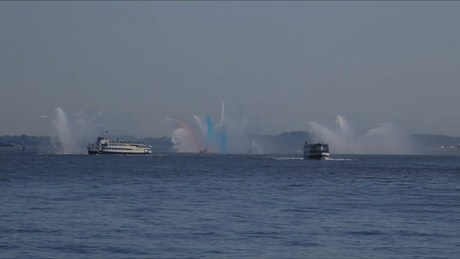 Fire boats spraying